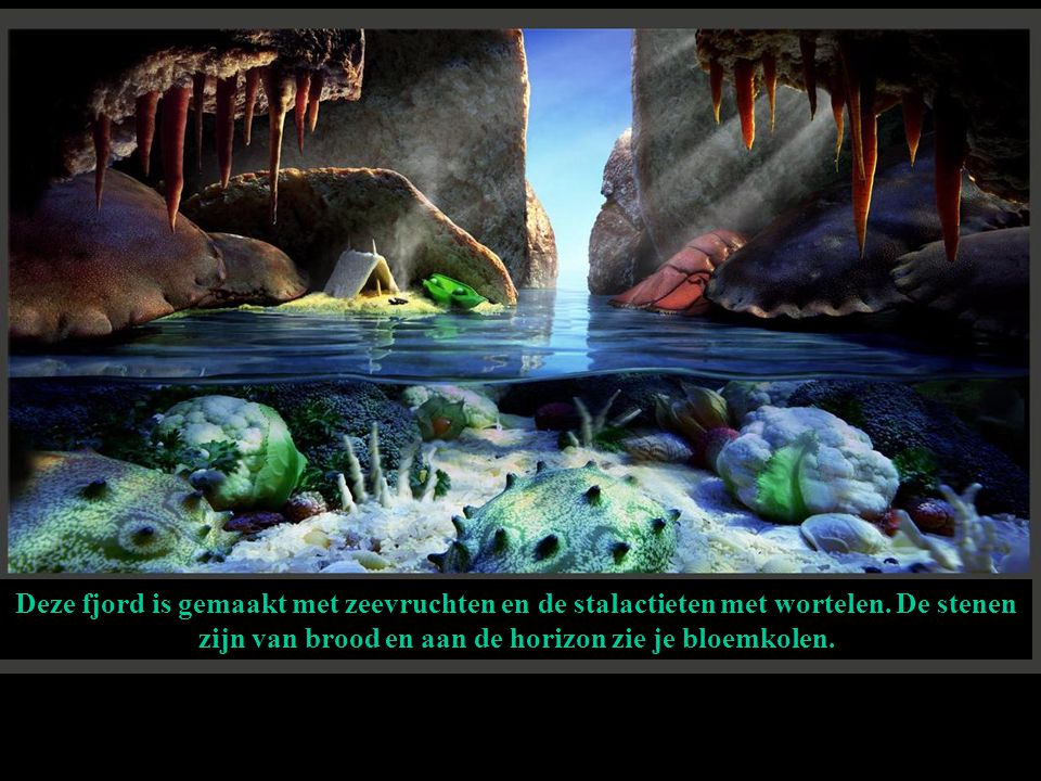 Deze fjord is gemaakt met zeevruchten en de stalactieten met wortelen.