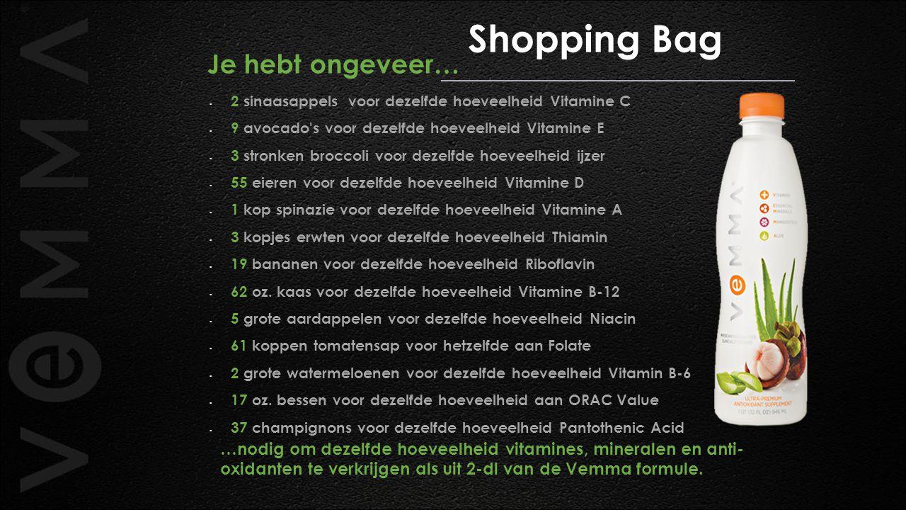Shopping Bag Je hebt ongeveer… 2 sinaasappels voor dezelfde hoeveelheid Vitamine C 9 avocado's voor dezelfde hoeveelheid Vitamine E 3 stronken broccol