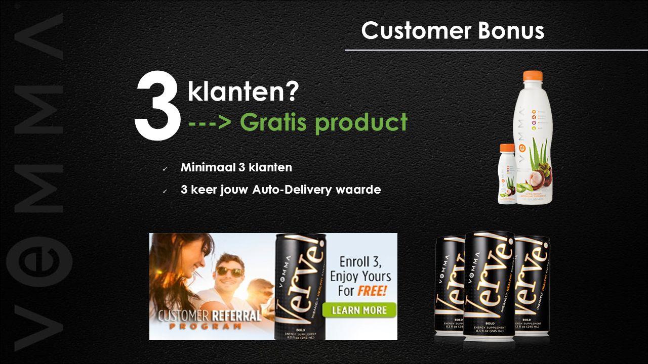 Customer Bonus klanten? ---> Gratis product Minimaal 3 klanten 3 keer jouw Auto-Delivery waarde 3