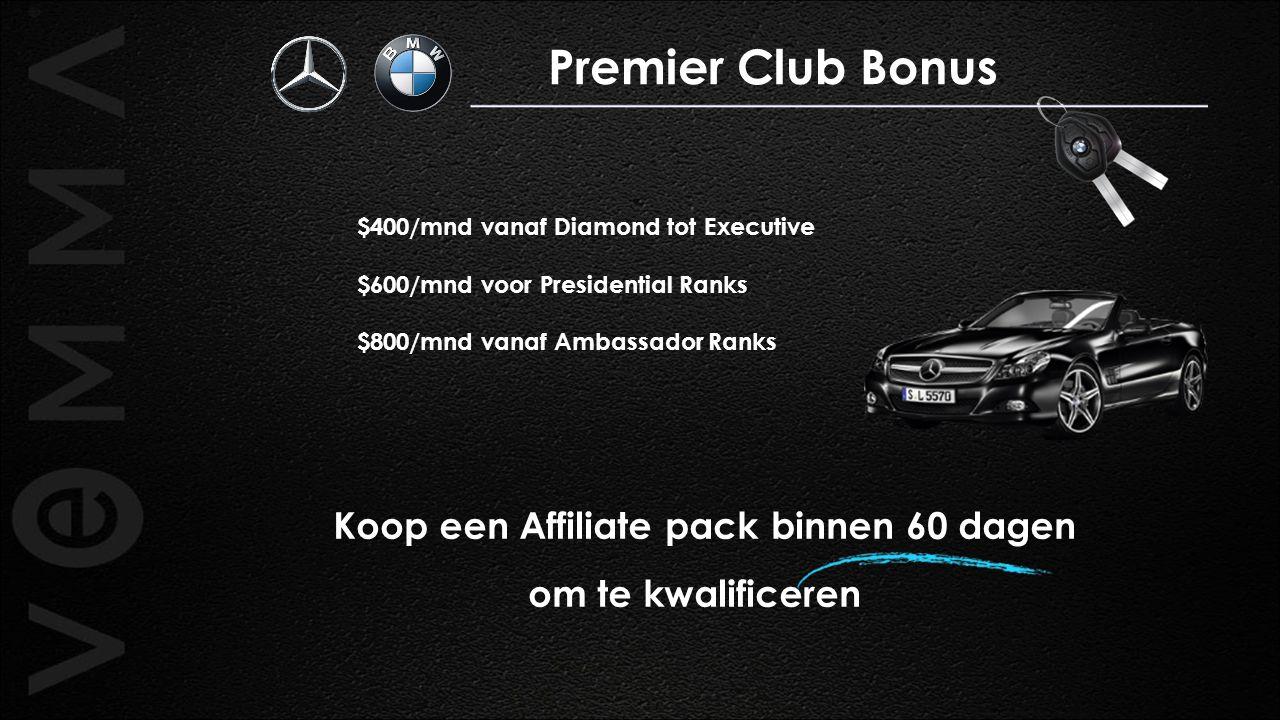 $400/mnd vanaf Diamond tot Executive $600/mnd voor Presidential Ranks $800/mnd vanaf Ambassador Ranks Koop een Affiliate pack binnen 60 dagen om te kw
