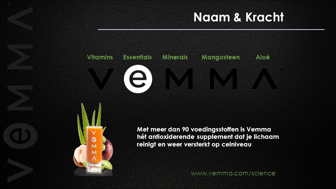 Naam & Kracht Vitamins Essentials Minerals Mangosteen Aloë www.vemma.com/science Met meer dan 90 voedingsstoffen is Vemma hét antioxiderende supplemen