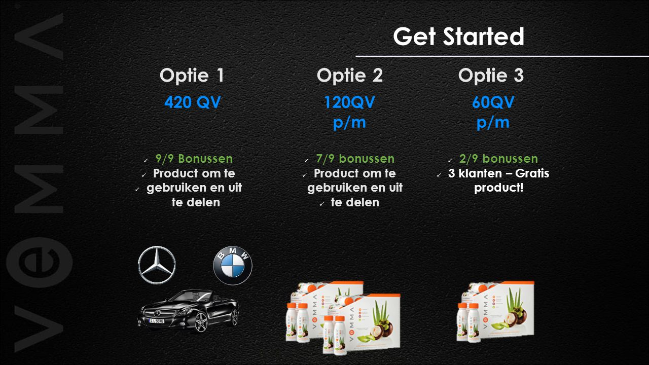 Optie 1 Optie 2 Optie 3 Get Started 120QV p/m 7/9 bonussen Product om te gebruiken en uit te delen 420 QV 9/9 Bonussen Product om te gebruiken en uit