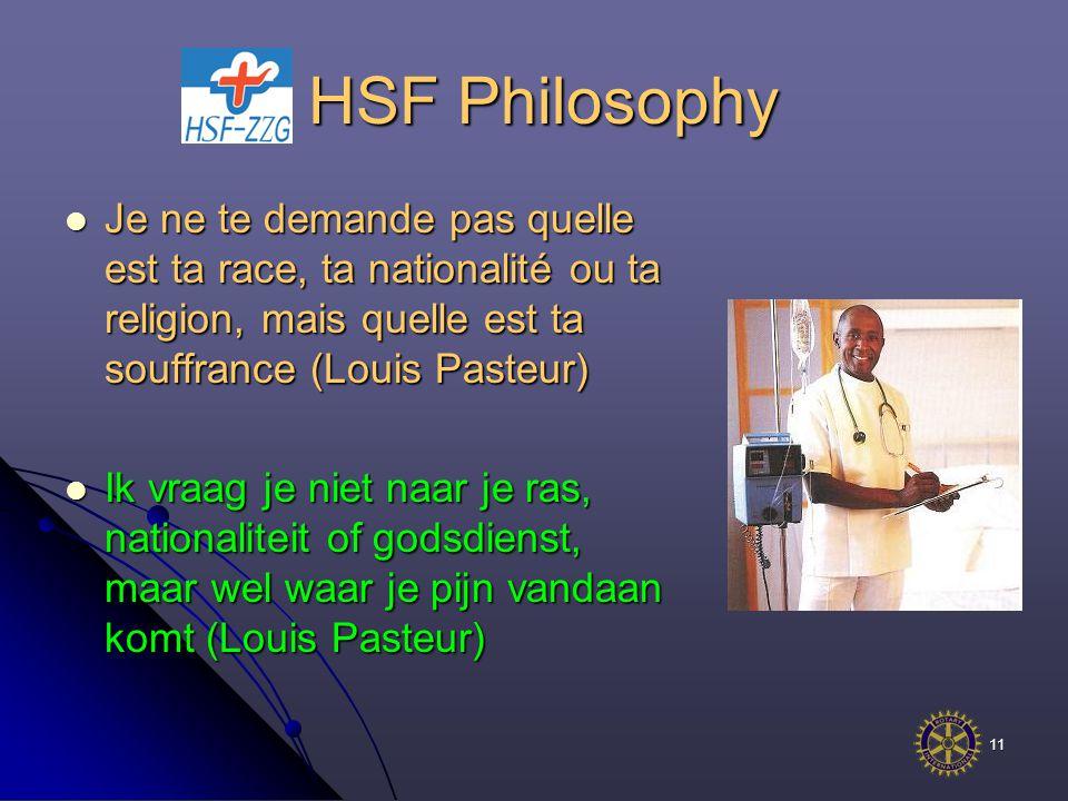 11 HSF Philosophy HSF Philosophy Je ne te demande pas quelle est ta race, ta nationalité ou ta religion, mais quelle est ta souffrance (Louis Pasteur) Je ne te demande pas quelle est ta race, ta nationalité ou ta religion, mais quelle est ta souffrance (Louis Pasteur) Ik vraag je niet naar je ras, nationaliteit of godsdienst, maar wel waar je pijn vandaan komt (Louis Pasteur) Ik vraag je niet naar je ras, nationaliteit of godsdienst, maar wel waar je pijn vandaan komt (Louis Pasteur)