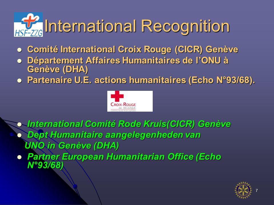 7 International Recognition Comité International Croix Rouge (CICR) Genève Comité International Croix Rouge (CICR) Genève Département Affaires Humanitaires de l'ONU à Genève (DHA) Département Affaires Humanitaires de l'ONU à Genève (DHA) Partenaire U.E.