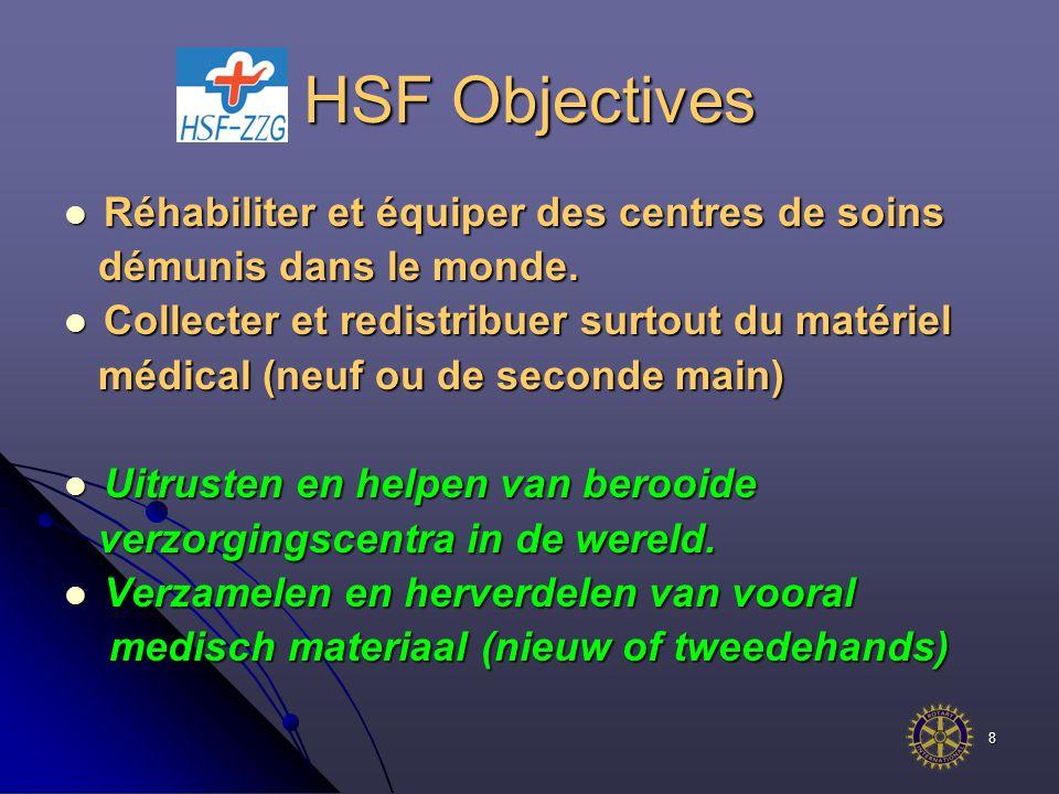 8 HSF Objectives Réhabiliter et équiper des centres de soins Réhabiliter et équiper des centres de soins démunis dans le monde.