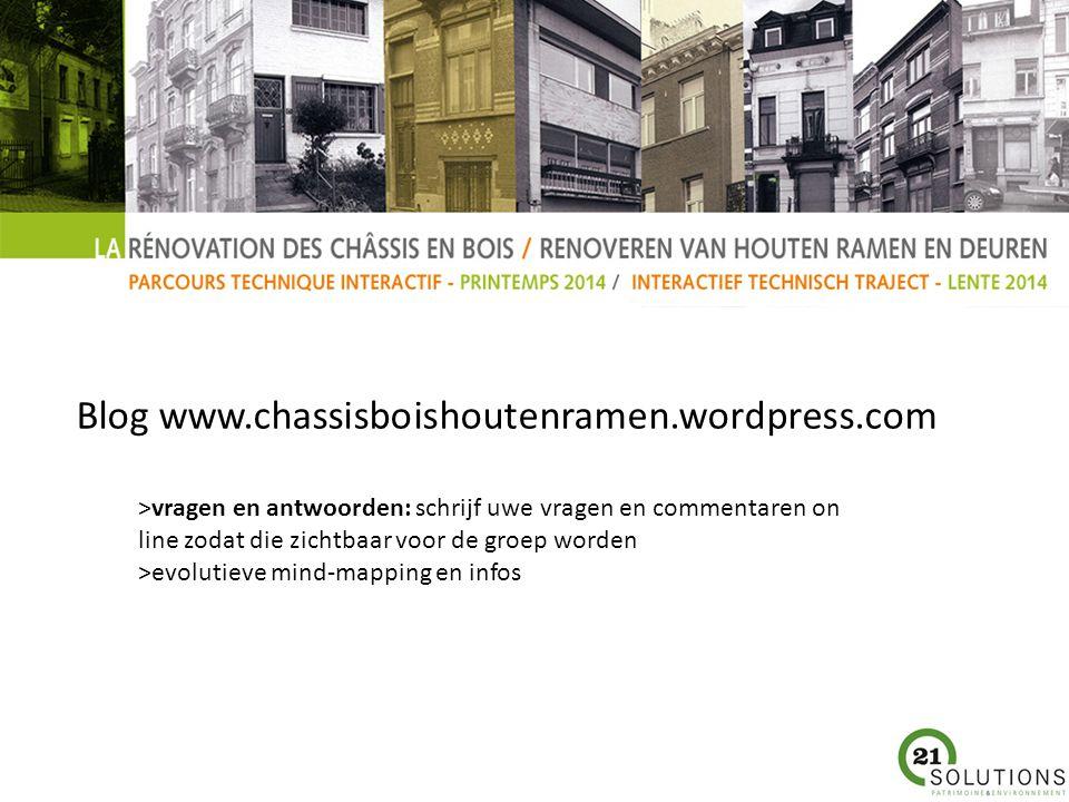 Blog www.chassisboishoutenramen.wordpress.com >vragen en antwoorden: schrijf uwe vragen en commentaren on line zodat die zichtbaar voor de groep worden >evolutieve mind-mapping en infos