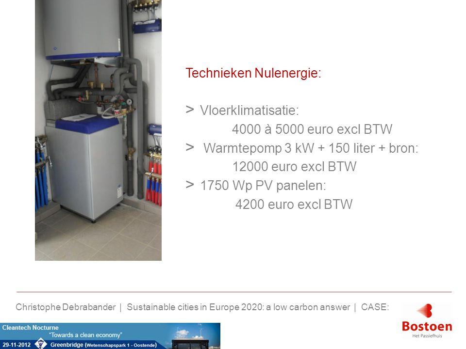 Technieken Nulenergie: > Vloerklimatisatie: 4000 à 5000 euro excl BTW > Warmtepomp 3 kW + 150 liter + bron: 12000 euro excl BTW > 1750 Wp PV panelen: