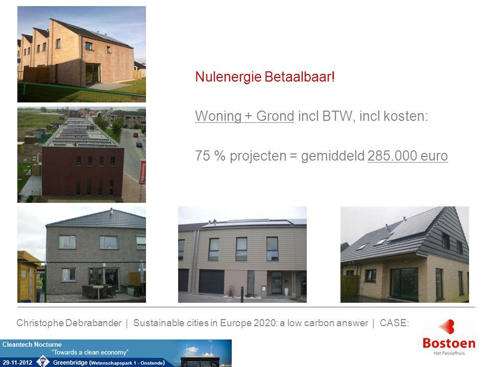 Nulenergie Betaalbaar! Woning + Grond incl BTW, incl kosten: 75 % projecten = gemiddeld 285.000 euro Christophe Debrabander | Sustainable cities in Eu