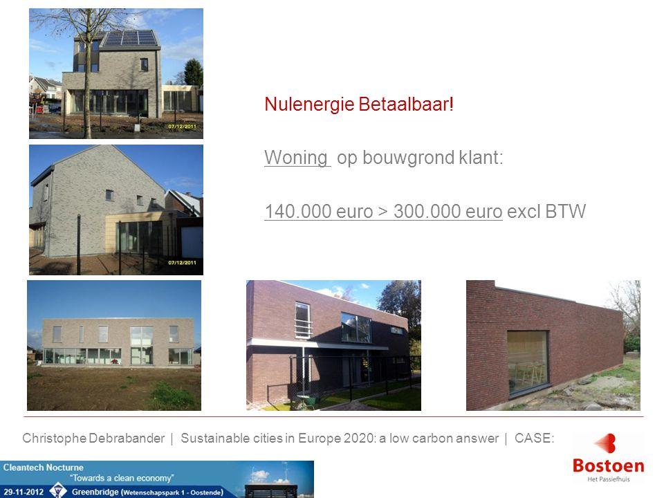 Nulenergie Betaalbaar! Woning op bouwgrond klant: 140.000 euro > 300.000 euro excl BTW Christophe Debrabander | Sustainable cities in Europe 2020: a l