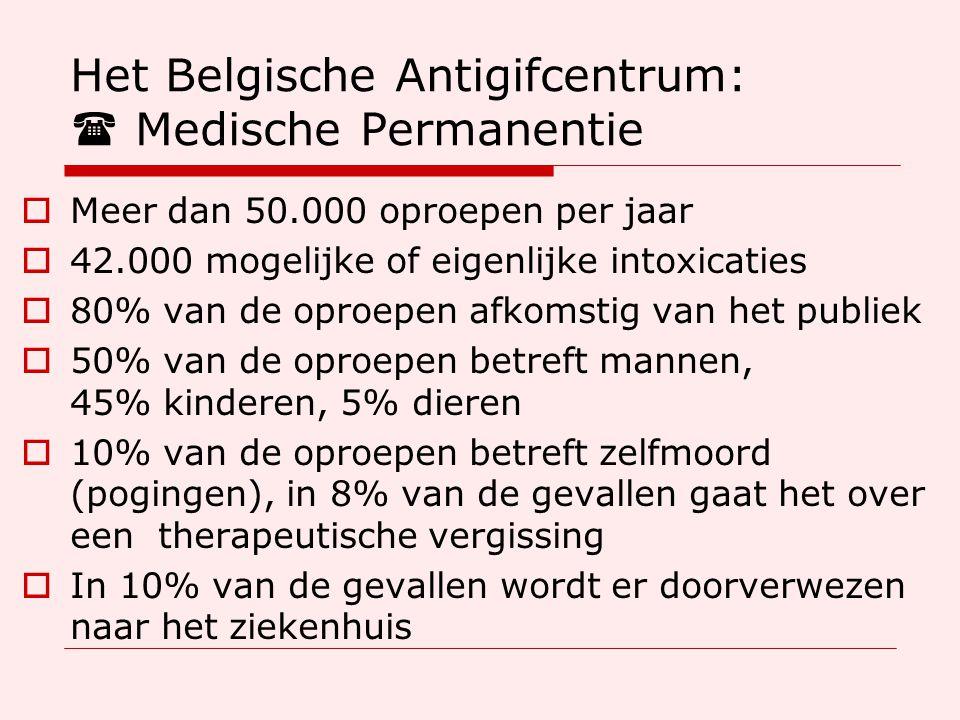 Het Belgische Antigifcentrum:  Medische Permanentie  Meer dan 50.000 oproepen per jaar  42.000 mogelijke of eigenlijke intoxicaties  80% van de oproepen afkomstig van het publiek  50% van de oproepen betreft mannen, 45% kinderen, 5% dieren  10% van de oproepen betreft zelfmoord (pogingen), in 8% van de gevallen gaat het over een therapeutische vergissing  In 10% van de gevallen wordt er doorverwezen naar het ziekenhuis