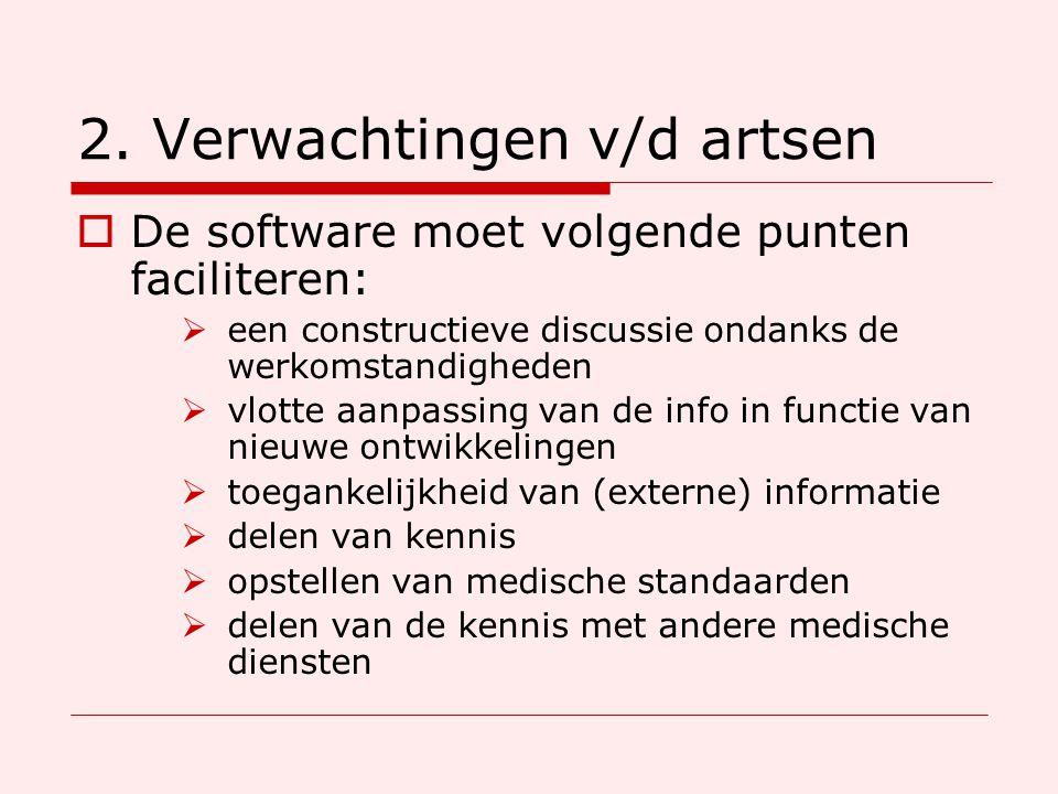 2. Verwachtingen v/d artsen  De software moet volgende punten faciliteren:  een constructieve discussie ondanks de werkomstandigheden  vlotte aanpa