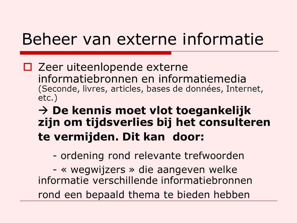 Beheer van externe informatie  Zeer uiteenlopende externe informatiebronnen en informatiemedia (Seconde, livres, articles, bases de données, Internet, etc.)  De kennis moet vlot toegankelijk zijn om tijdsverlies bij het consulteren te vermijden.