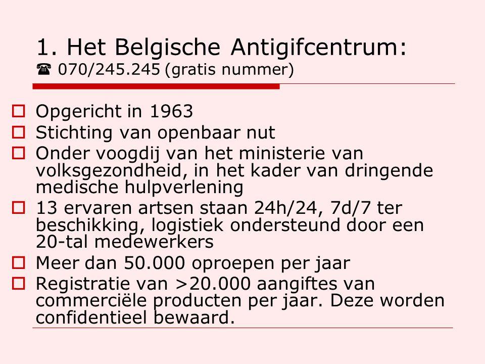 1. Het Belgische Antigifcentrum:  070/245.245 (gratis nummer)  Opgericht in 1963  Stichting van openbaar nut  Onder voogdij van het ministerie van
