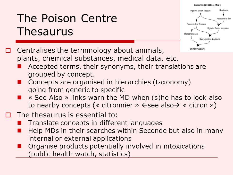 The Poison Centre Thesaurus  Centralises the terminology about animals, plants, chemical substances, medical data, etc.