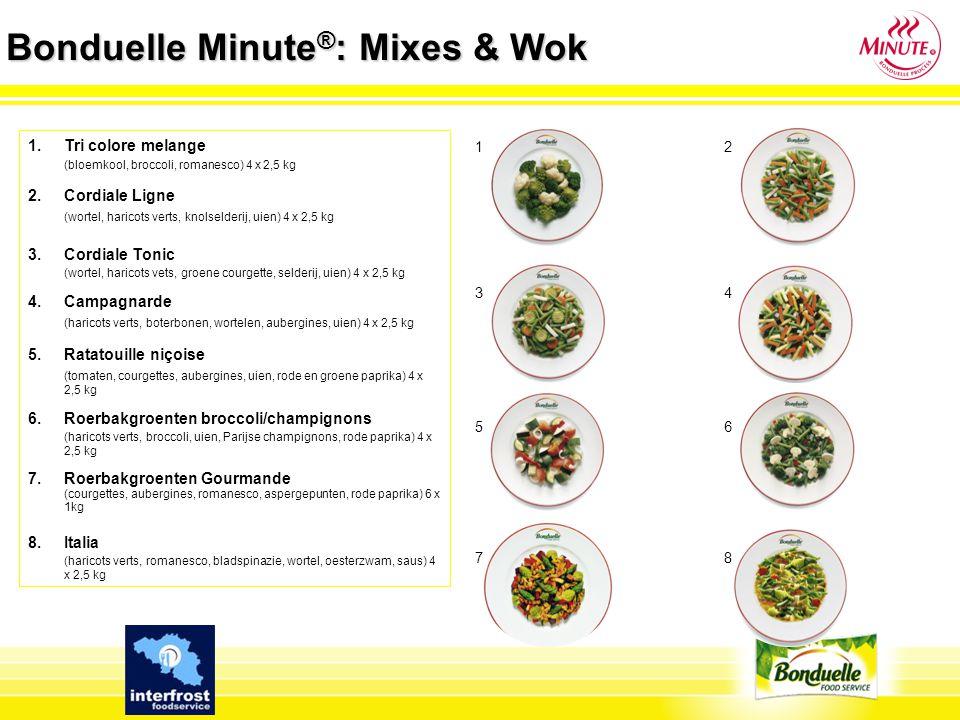 Bonduelle Minute ® : Mixes & Wok 1.España (romanobonen, gegrilde courgettes, rode en gele paprika, gegrilde uien, saus) 4 x 2,5 kg 2.