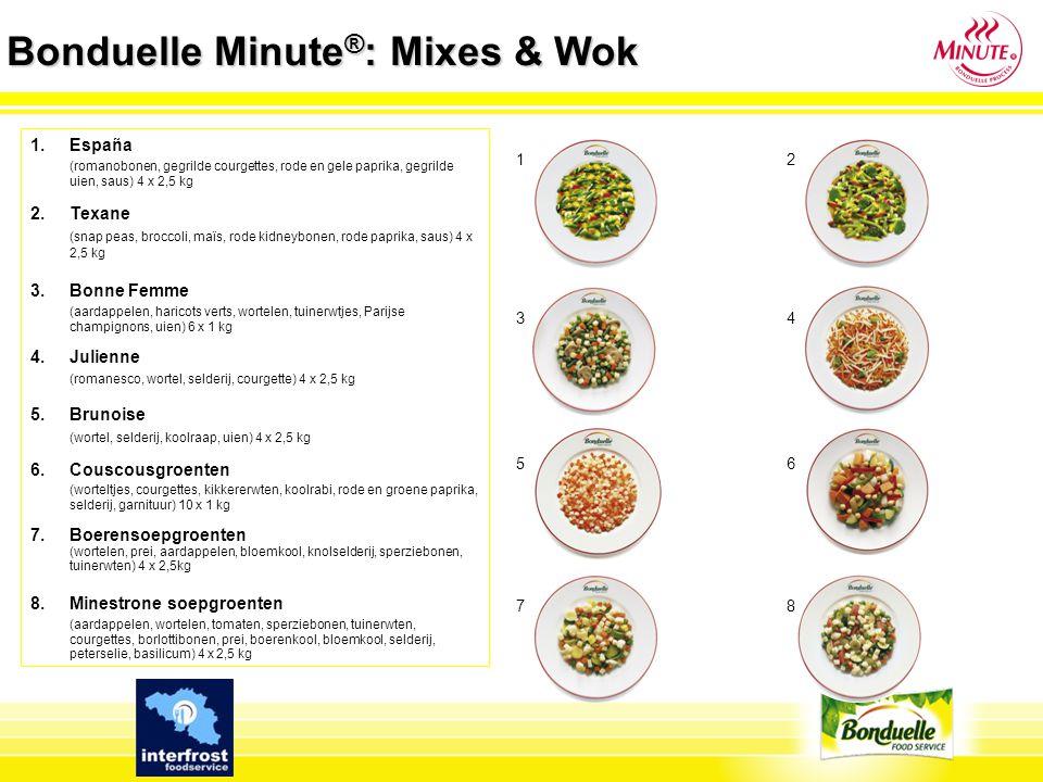 Bonduelle Minute ® : Mixes & Wok 1.España (romanobonen, gegrilde courgettes, rode en gele paprika, gegrilde uien, saus) 4 x 2,5 kg 2. Texane (snap pea