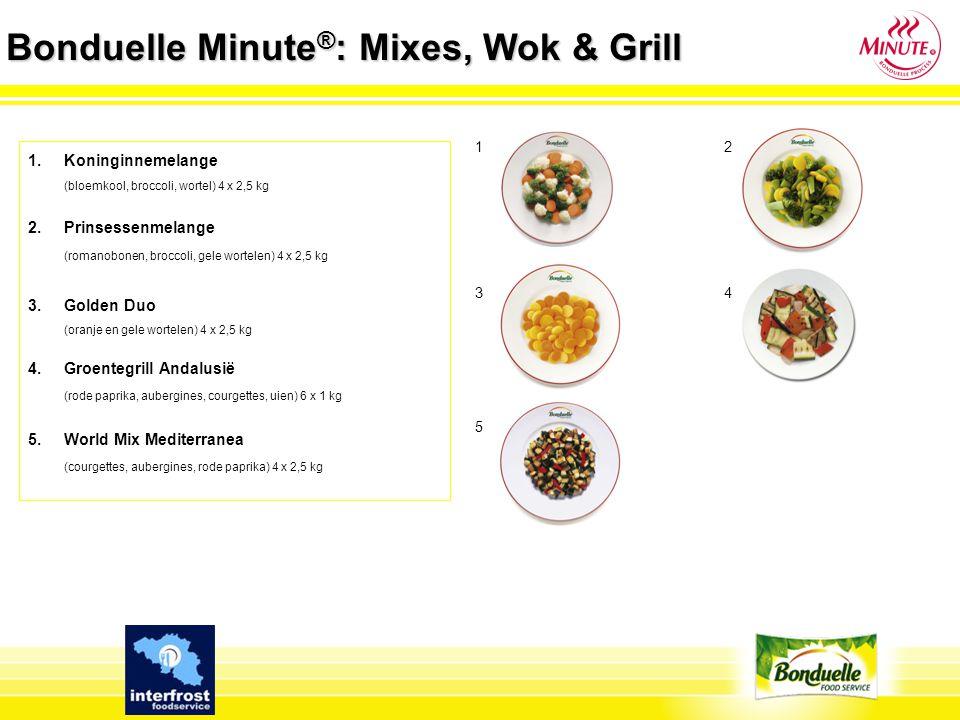 Bonduelle Minute ® : Mixes, Wok & Grill 1.Koninginnemelange (bloemkool, broccoli, wortel) 4 x 2,5 kg 2. Prinsessenmelange (romanobonen, broccoli, gele