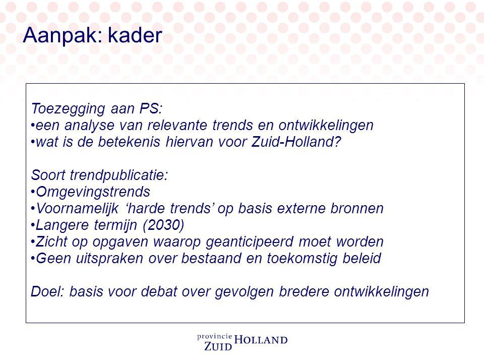 Toezegging aan PS: een analyse van relevante trends en ontwikkelingen wat is de betekenis hiervan voor Zuid-Holland.