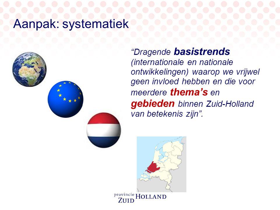 Dragende basistrends (internationale en nationale ontwikkelingen) waarop we vrijwel geen invloed hebben en die voor meerdere thema's en gebieden binnen Zuid-Holland van betekenis zijn .