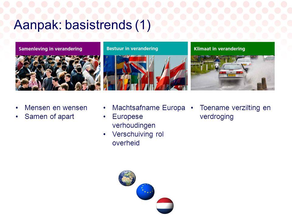 Mensen en wensen Samen of apart Machtsafname Europa Europese verhoudingen Verschuiving rol overheid Toename verzilting en verdroging Aanpak: basistrends (1)