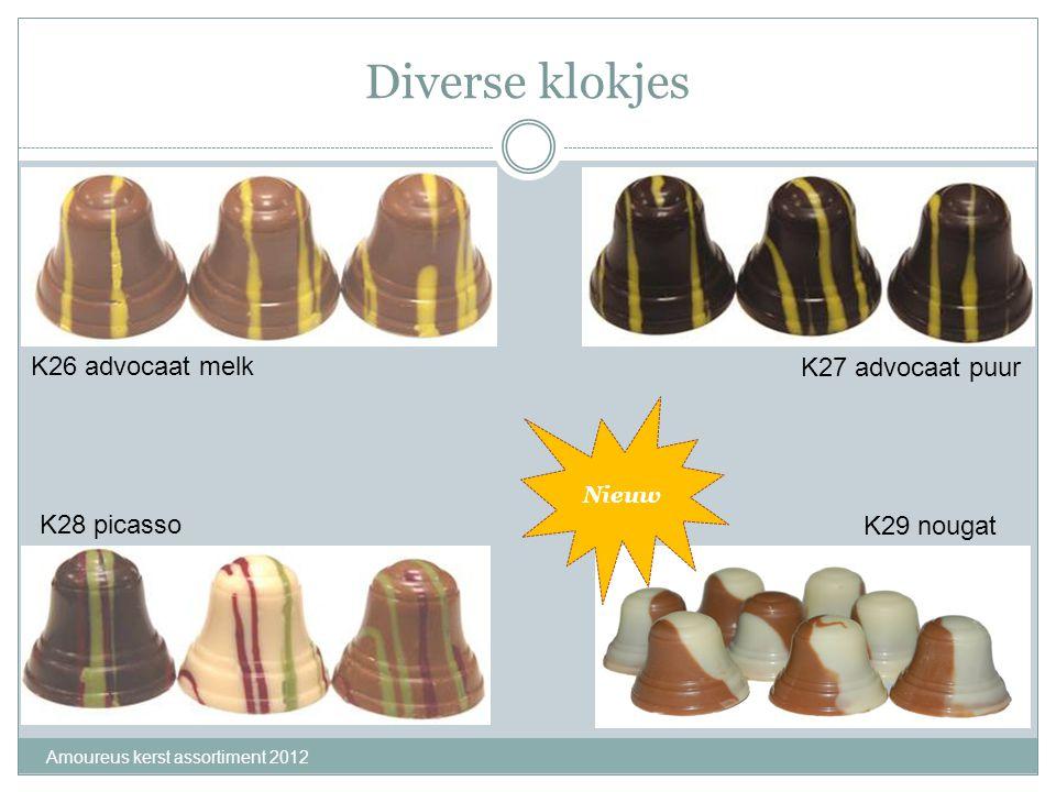 Diverse klokjes Amoureus kerst assortiment 2012 K26 advocaat melk K27 advocaat puur K28 picasso K29 nougat Nieuw