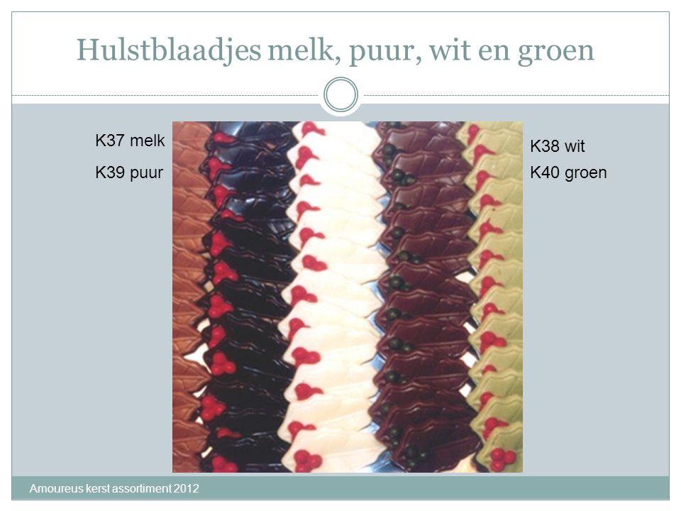 Hulstblaadjes melk, puur, wit en groen Amoureus kerst assortiment 2012 K37 melk K39 puur K38 wit K40 groen