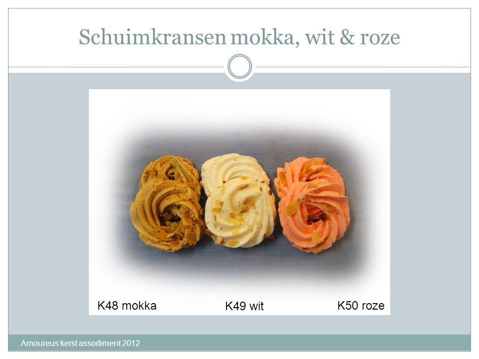 Schuimkransen mokka, wit & roze Amoureus kerst assortiment 2012 K48 mokka K49 wit K50 roze