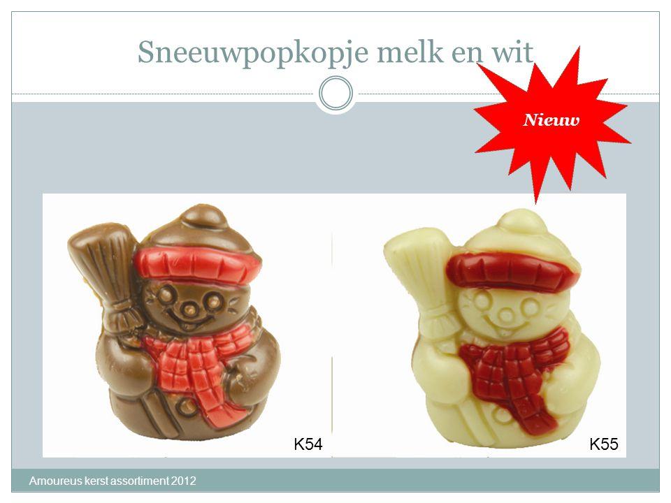 Sneeuwpopkopje melk en wit Amoureus kerst assortiment 2012 K54K55 Nieuw