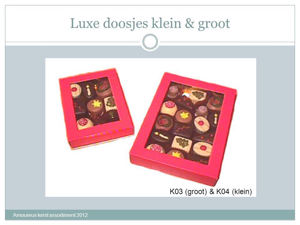 Luxe doosjes klein & groot Amoureus kerst assortiment 2012 K03 (groot) & K04 (klein)