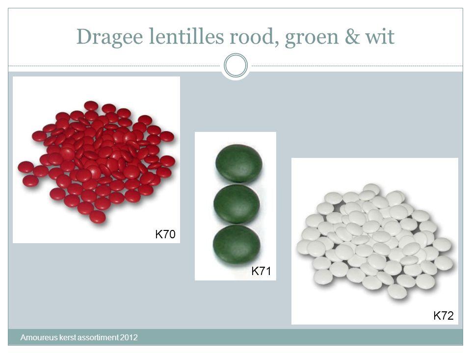 Dragee lentilles rood, groen & wit Amoureus kerst assortiment 2012 K70 K71 K72