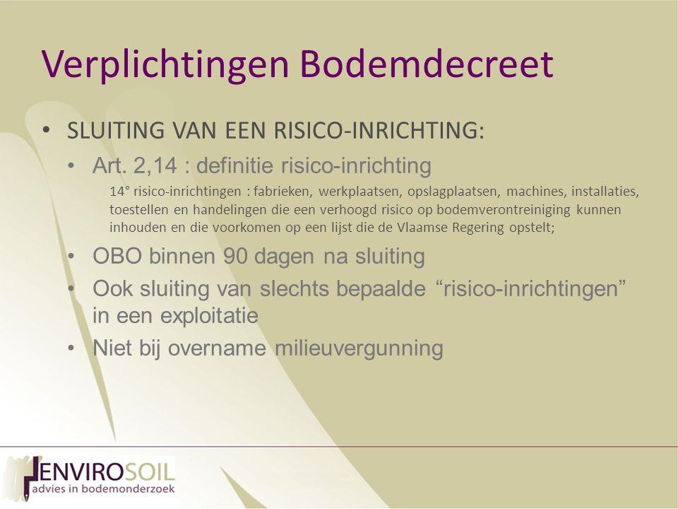Verplichtingen Bodemdecreet SLUITING VAN EEN RISICO-INRICHTING: Art.