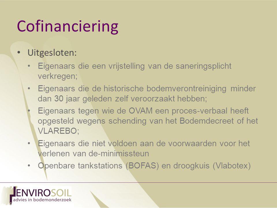 Cofinanciering Uitgesloten: Eigenaars die een vrijstelling van de saneringsplicht verkregen; Eigenaars die de historische bodemverontreiniging minder dan 30 jaar geleden zelf veroorzaakt hebben; Eigenaars tegen wie de OVAM een proces-verbaal heeft opgesteld wegens schending van het Bodemdecreet of het VLAREBO; Eigenaars die niet voldoen aan de voorwaarden voor het verlenen van de-minimissteun Openbare tankstations (BOFAS) en droogkuis (Vlabotex)