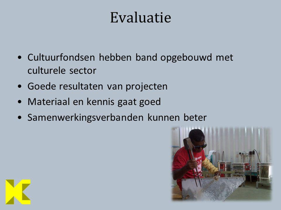 11 Evaluatie Cultuurfondsen hebben band opgebouwd met culturele sector Goede resultaten van projecten Materiaal en kennis gaat goed Samenwerkingsverbanden kunnen beter