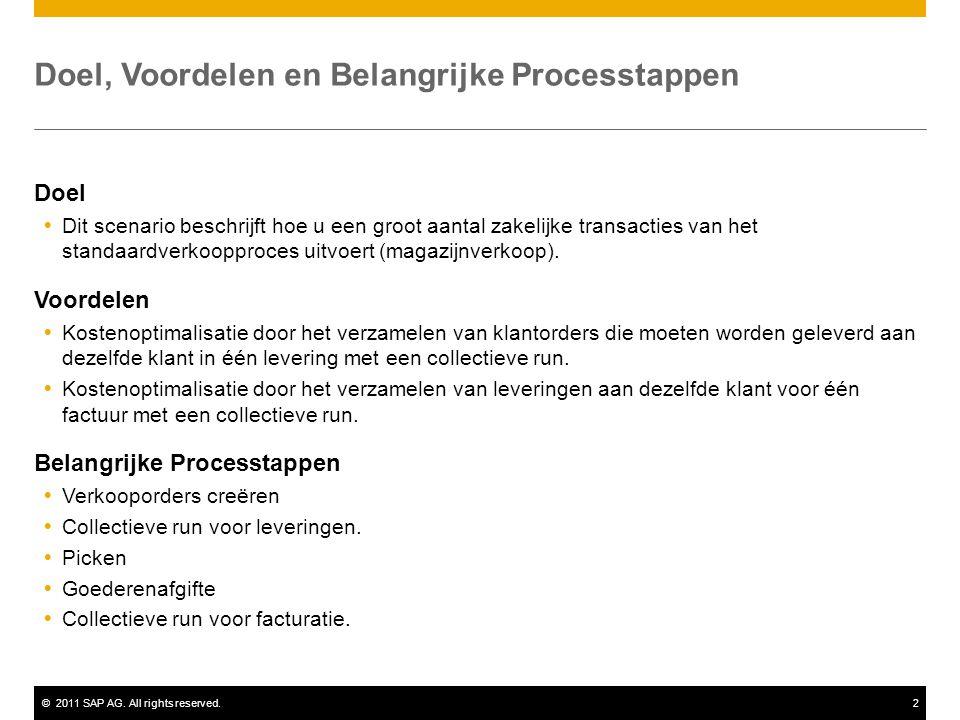 ©2011 SAP AG. All rights reserved.2 Doel, Voordelen en Belangrijke Processtappen Doel  Dit scenario beschrijft hoe u een groot aantal zakelijke trans