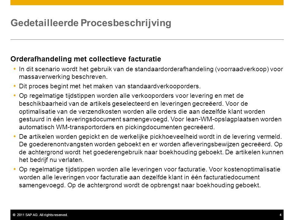 ©2011 SAP AG. All rights reserved.4 Gedetailleerde Procesbeschrijving Orderafhandeling met collectieve facturatie  In dit scenario wordt het gebruik