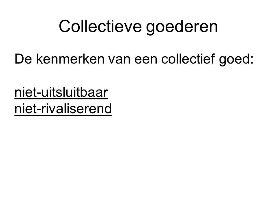 Collectieve goederen De kenmerken van een collectief goed: niet-uitsluitbaar niet-rivaliserend