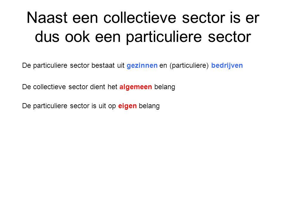 Naast een collectieve sector is er dus ook een particuliere sector De particuliere sector bestaat uit gezinnen en (particuliere) bedrijven De collecti