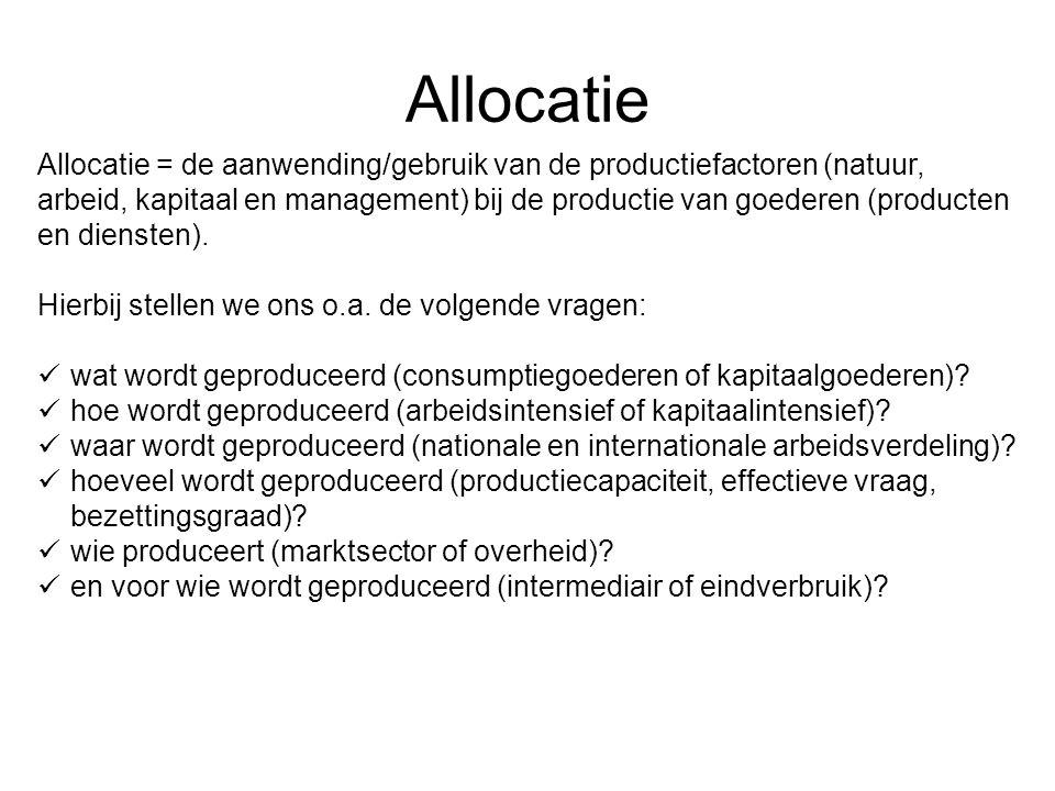 Allocatie Allocatie = de aanwending/gebruik van de productiefactoren (natuur, arbeid, kapitaal en management) bij de productie van goederen (producten