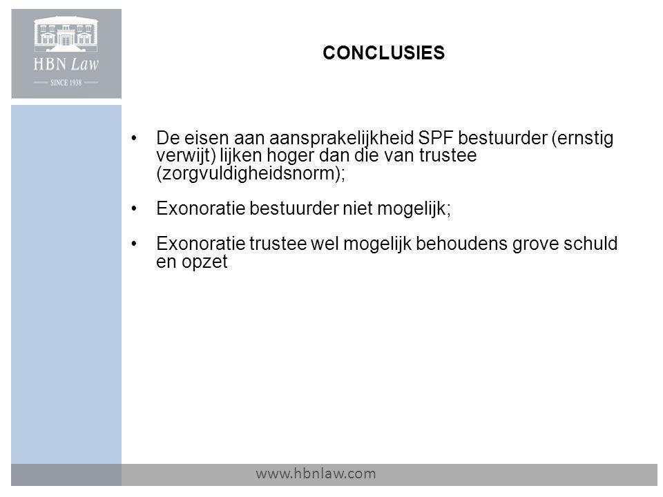 CONCLUSIES www.hbnlaw.com De eisen aan aansprakelijkheid SPF bestuurder (ernstig verwijt) lijken hoger dan die van trustee (zorgvuldigheidsnorm); Exon