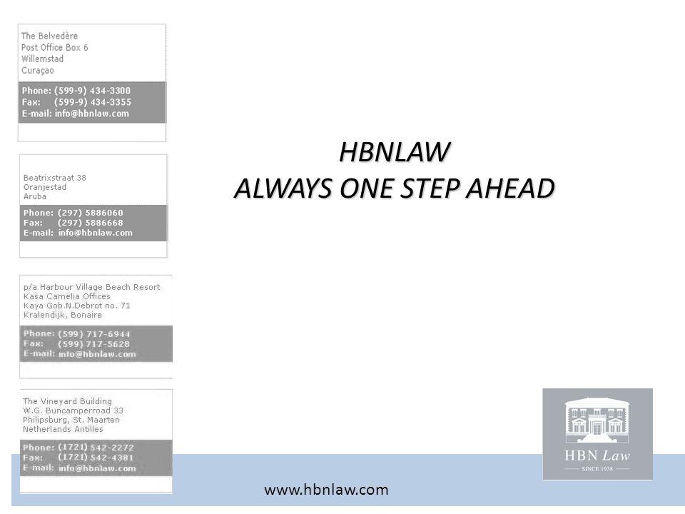 HBNLAW ALWAYS ONE STEP AHEAD www.hbnlaw.com
