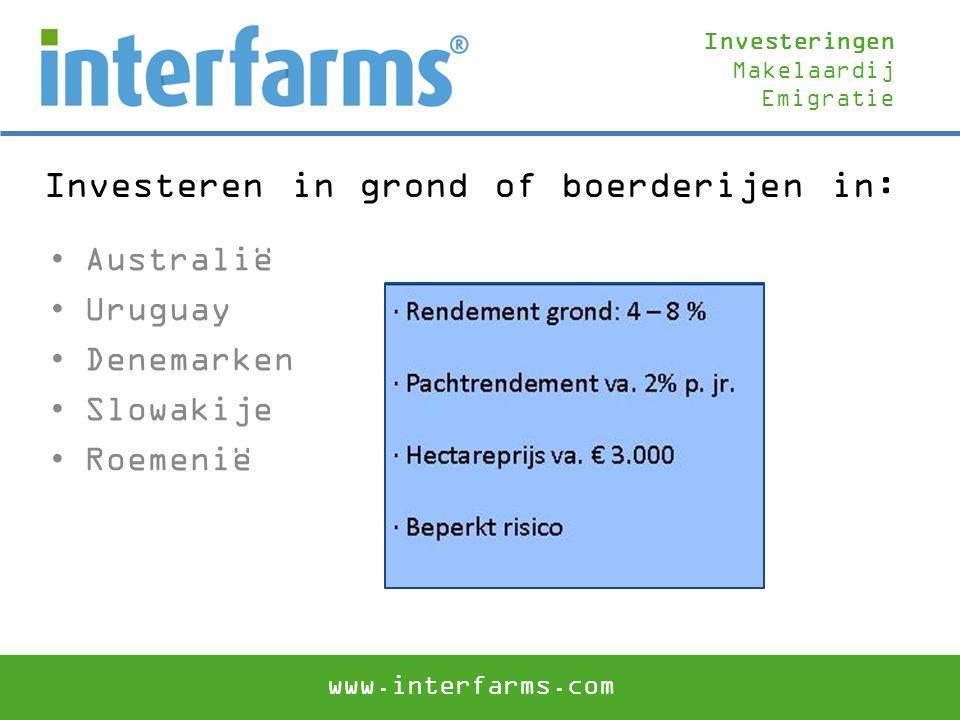 Investeren in grond of boerderijen in: Australië Uruguay Denemarken Slowakije Roemenië Investeringen Makelaardij Emigratie www.interfarms.com
