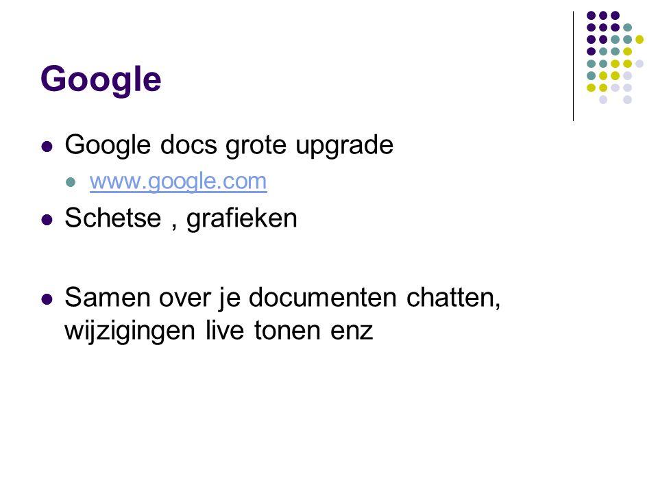Google Google docs grote upgrade www.google.com Schetse, grafieken Samen over je documenten chatten, wijzigingen live tonen enz