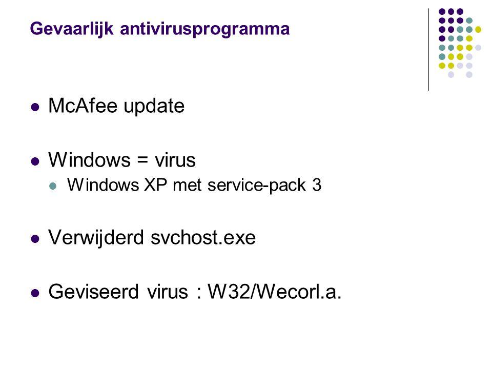 Gevaarlijk antivirusprogramma McAfee update Windows = virus Windows XP met service-pack 3 Verwijderd svchost.exe Geviseerd virus : W32/Wecorl.a.