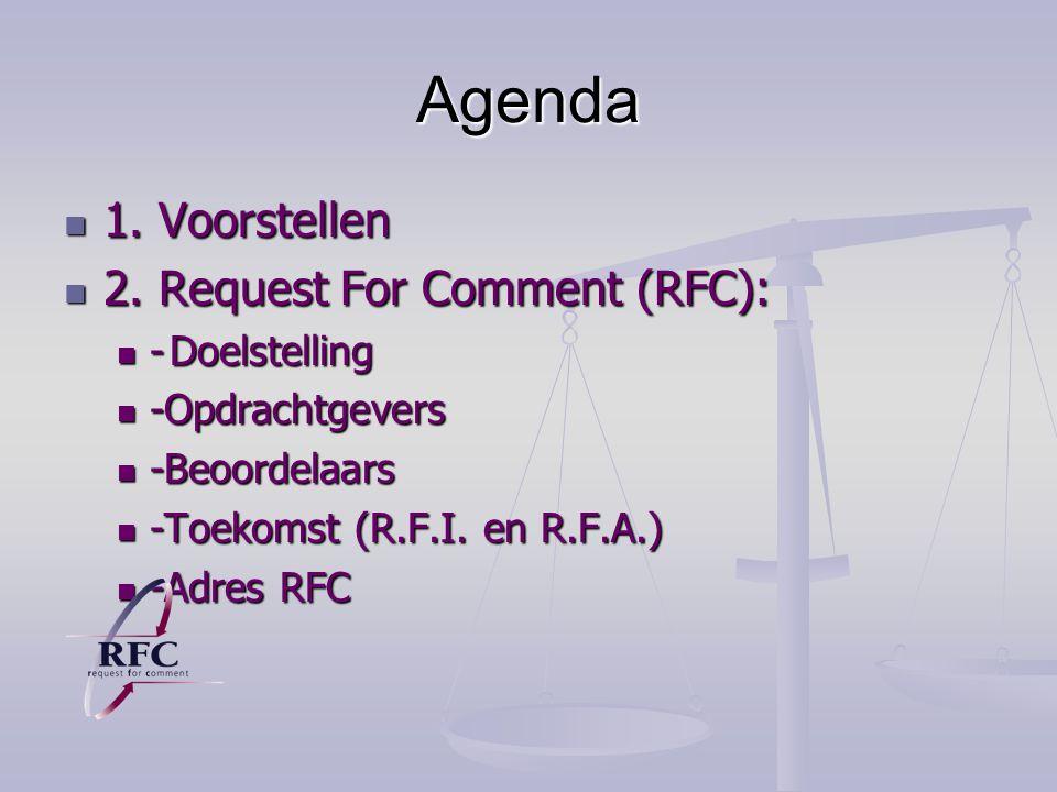 Agenda 1.Voorstellen 1. Voorstellen 2. Request For Comment (RFC): 2.