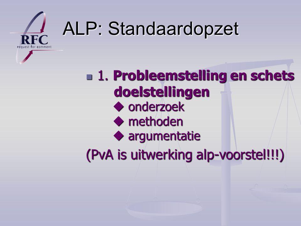 ALP: Standaardopzet 1.