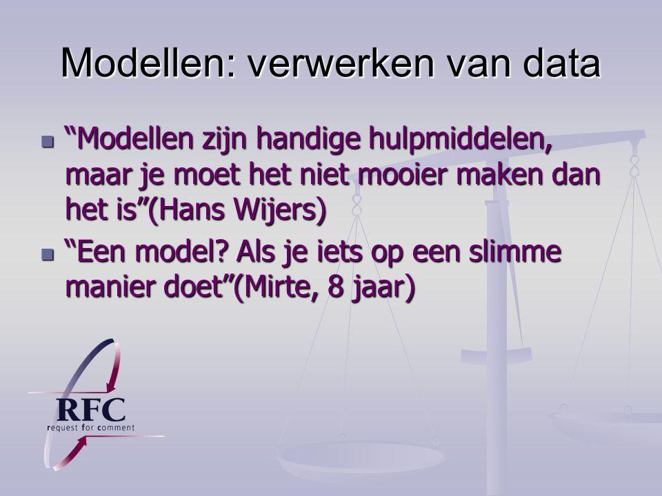 Modellen: verwerken van data Modellen zijn handige hulpmiddelen, maar je moet het niet mooier maken dan het is (Hans Wijers) Modellen zijn handige hulpmiddelen, maar je moet het niet mooier maken dan het is (Hans Wijers) Een model.