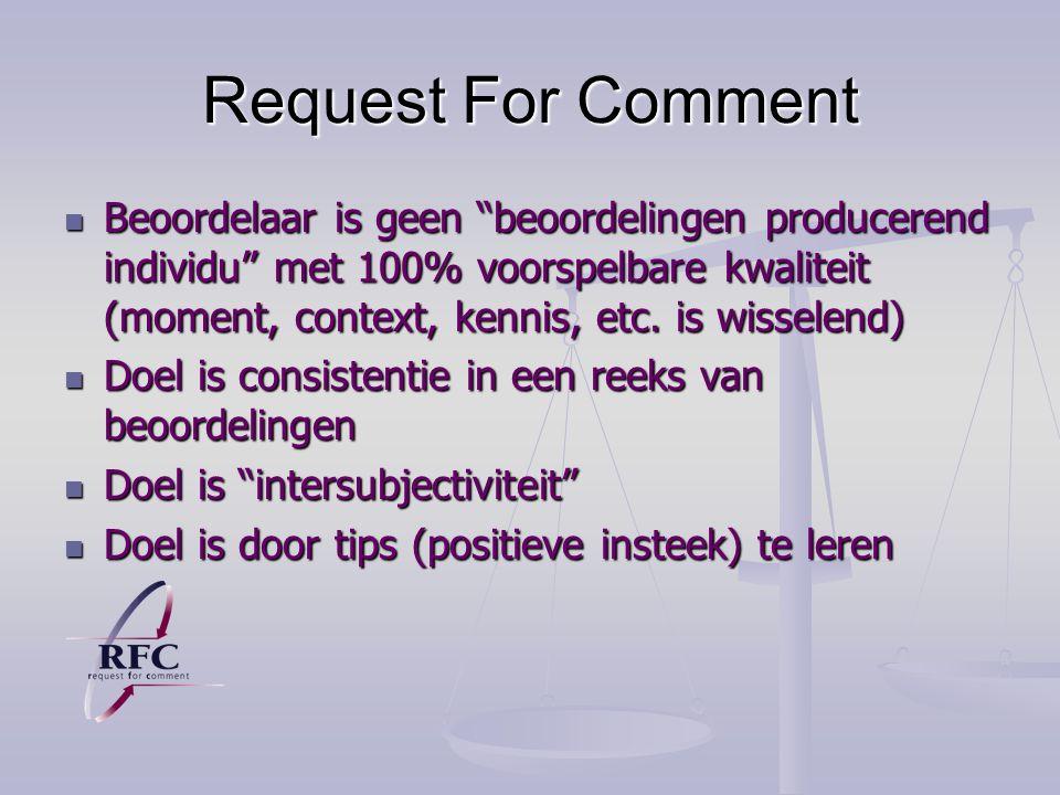 Request For Comment Beoordelaar is geen beoordelingen producerend individu met 100% voorspelbare kwaliteit (moment, context, kennis, etc.