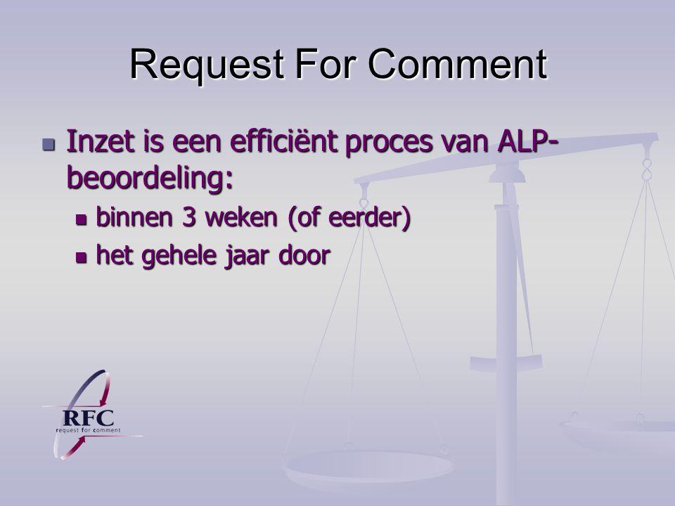 Request For Comment Inzet is een efficiënt proces van ALP- beoordeling: Inzet is een efficiënt proces van ALP- beoordeling: binnen 3 weken (of eerder) binnen 3 weken (of eerder) het gehele jaar door het gehele jaar door
