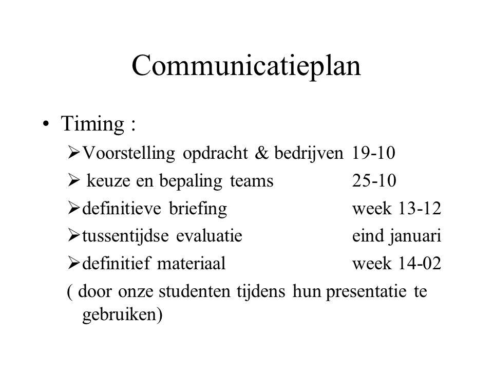 Communicatieplan Timing :  Voorstelling opdracht & bedrijven 19-10  keuze en bepaling teams 25-10  definitieve briefing week 13-12  tussentijdse e