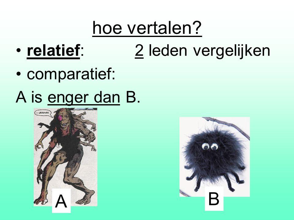 hoe vertalen? relatief: 2 leden vergelijken comparatief: A is enger dan B. A B